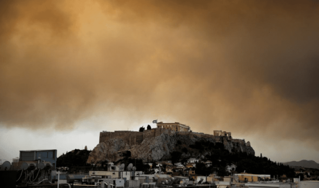 fire outside athens