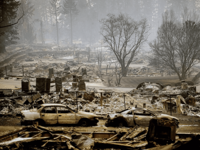 Homes leveled by the Camp Fire line a development on Edgewood Lane in Paradise, Calif., Nov. 12, 2018